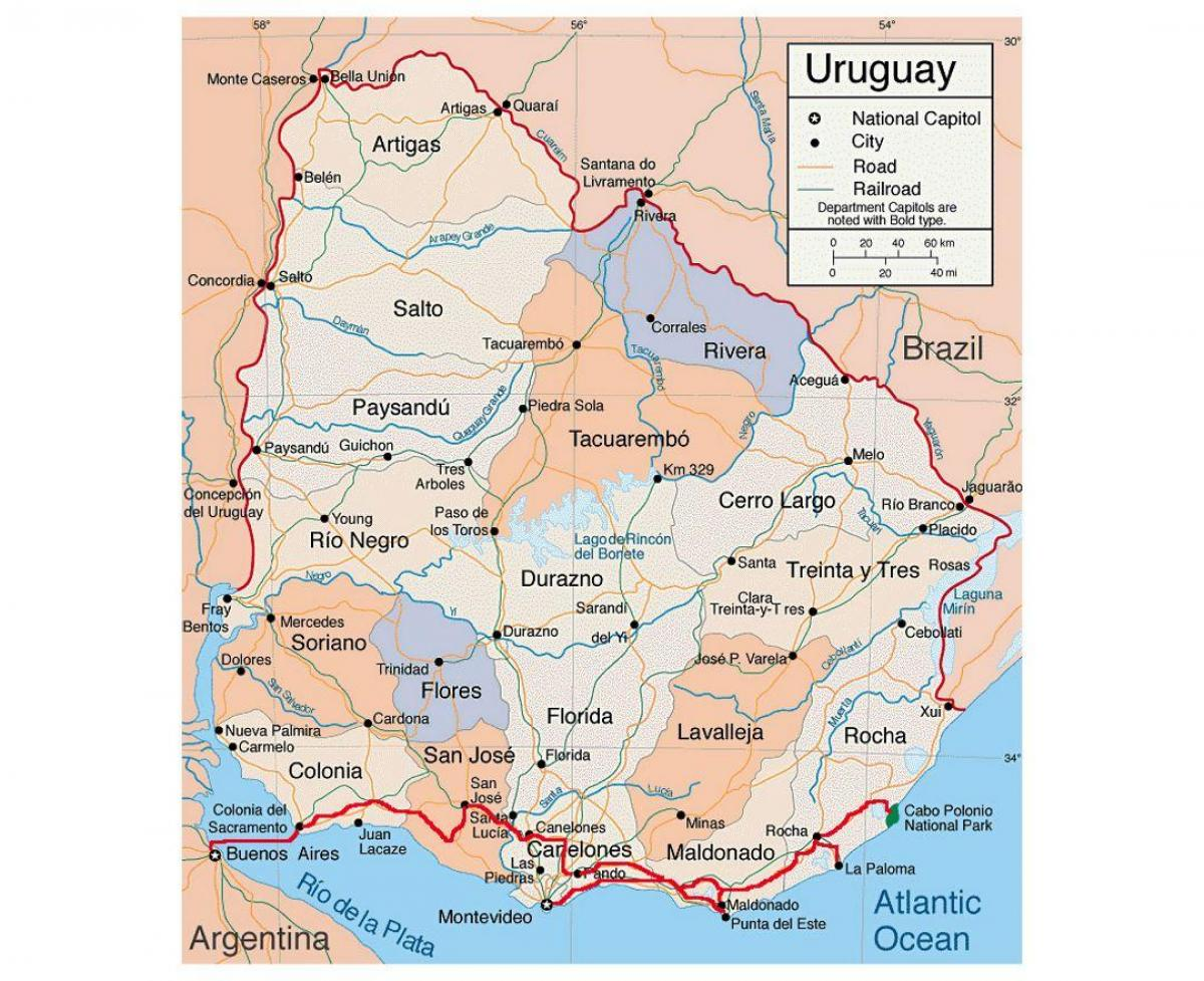 Amerika Gradovi Karta.Karta Urugvaj S Gradovima Karta Urugvaj S Grada Juzna Amerika